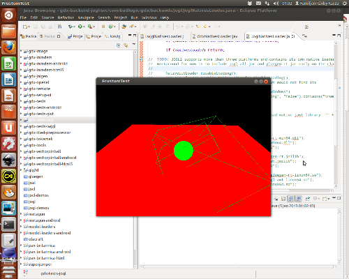 The first working libgdx JOGL 2 test run