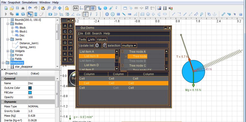 physics simulator screenshot